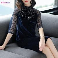 HANZANGL Spring Summer 2018 Womens 3 4 Lace Sleeve Elegant Vintage Gold Velvet Cheongsam Dress Mother