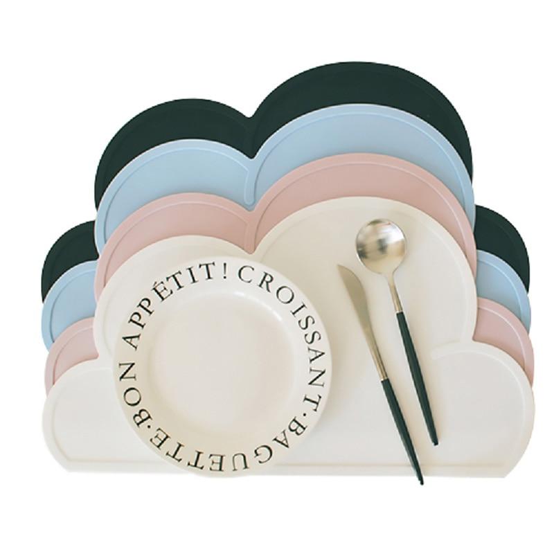 Wolken Silikon Tisch Matten Wasserdichte Handy Platemat Für baby Toddle Fütterung Nicht-schlupf Startseite Küche Geschirr Pad