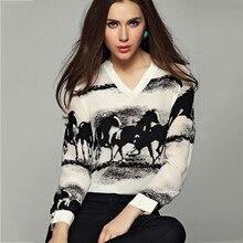63ec16afce6c Temperamento Con Scollo A V Cavallo Inchiostro di Stampa Camicia a maniche  lunghe blusas mujer de moda 2018 delle donne top e ca.