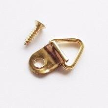 Suporte de ganchos de espelho, ganchos de armação triangular dourado com anel d, pintura a óleo, pintura com 100 parafusos 10x20mm com 100 peças