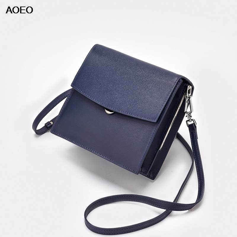 AOEO Small Messenger Bag Women New 2019 Fashion High Quality Split Leather Ladies Handbags Female Shoulder