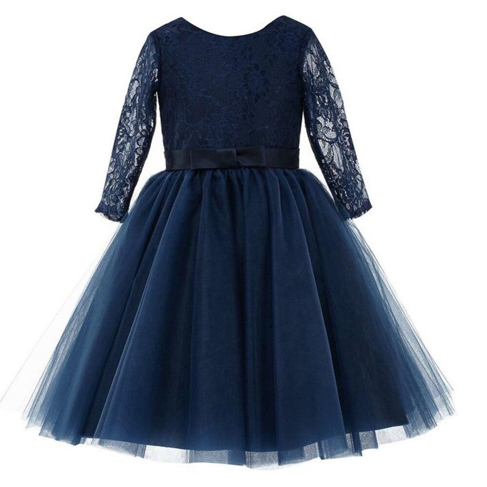 Long Sleeve A-Line Lace Flower Girl Dresses Princess Tulle Mother Daughter Dresse For Girl Party Blue Vintage Communion Dresses