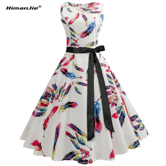 Himanjie Womens Summer Dresses 50s 60s Robe Vintage Retro Pin Up Swing Polka  Rockabilly Flower feather 5481db765d1d