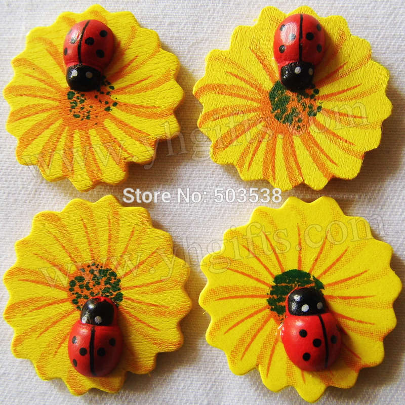 1000PCS/LOT,Ladybug on sunflower stickers,3cm,Kids toys,scrapbooking kit,Early educational DIY.Kindergarten crafts.Classic toys