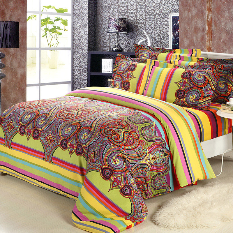 Brushed Cotton Bohemian Comforter Bedding Sets Boho Style Moroccan Bed ...
