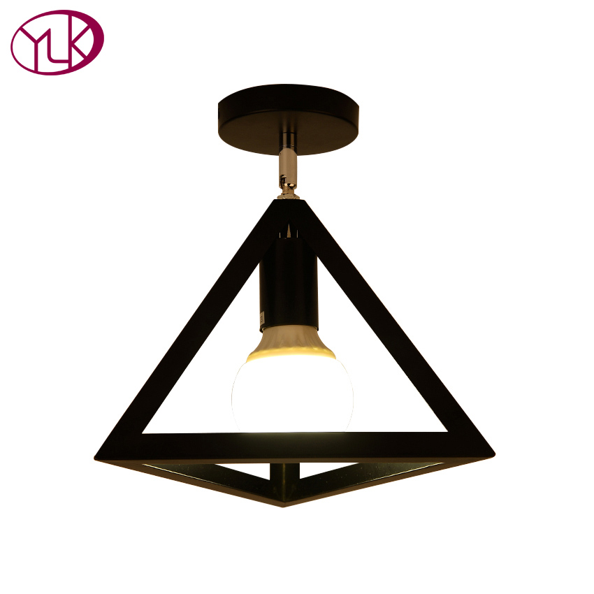 Free shipping Vintage Iron Triangle Painting ceiling Lamp Foyer Dining Room Bar Loft ceiling Light E27 110-240V home lighting free shipping cy041 loft vintage style metal painting home pendant lights lamp