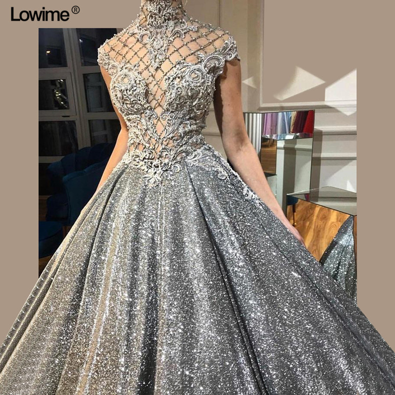 Silver Glitter Sequined Fabric Evening   Dress   2018 Custom Beading   Prom     Dresses   Long Dubai Abaya Women   Dresses   African