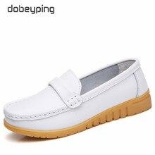 Dobeyping novos sapatos de couro genuíno mulher deslizamento sobre mocassins femininos mocassins primavera outono mãe sapato grande tamanho 35 44