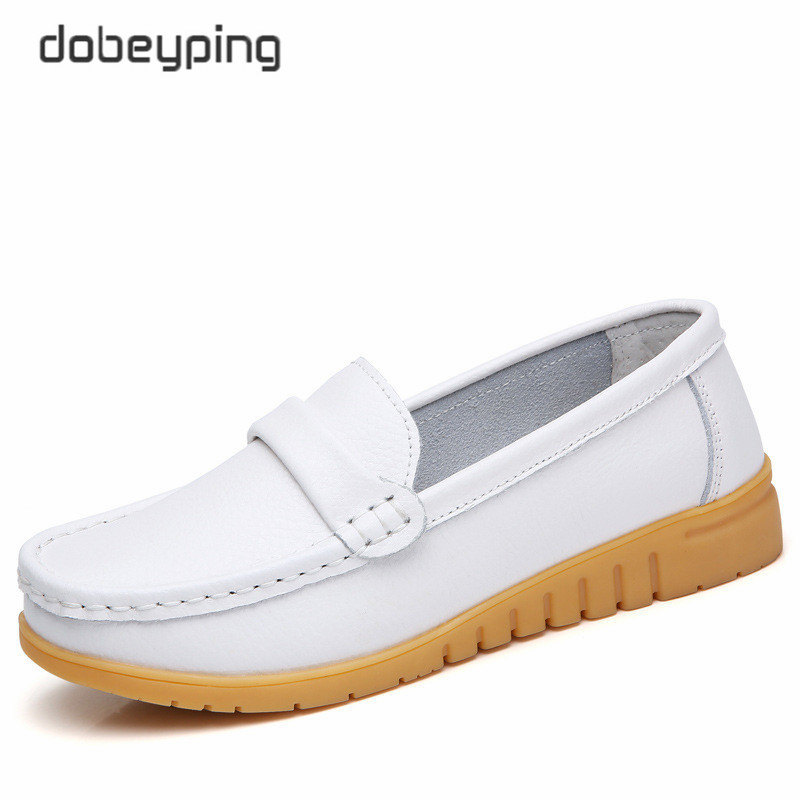 Dobeyping New Genuine Leather Shoes Woman Slip On Women Flats Moccasins Women's Loafers Spring Autumn Mother Shoe Big Size 35-44