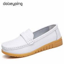dobeyping New Genuine Leather Shoes Woman Slip On Women Flats Moccasins Womens Loafers Spring Autumn Mother Shoe Big Size 35-44