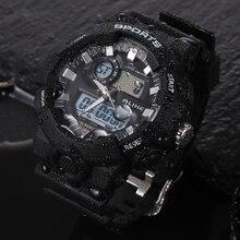 2017 новое поступление мужчины люксовый бренд Многофункциональный цифровой спортивные часы 50 м Водонепроницаемый Dual Time унисекс СИД подарок часы