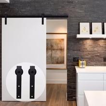LWZH 16FT/18FT/20FT Black Country Style Steel Sliding Barn Door Hardware Closet Kit for Single