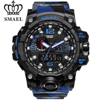 Men Watch Dual Time Camouflage Military Watches Outdoor Swim Digital LED Wristwatch SMAEL Brand G