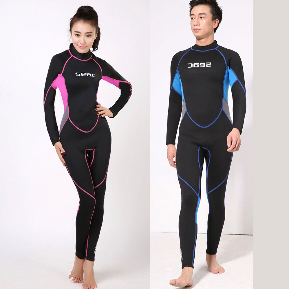 Full Body Wetsuit 3mm Premium Neoprene Couple Design for Women & Men Suits Back Zipper Pink Black Blue size XS - 2XL hot sale hbxy back zip waterproof women spandex bodysuit swimming full body suit for women lycra body suits men