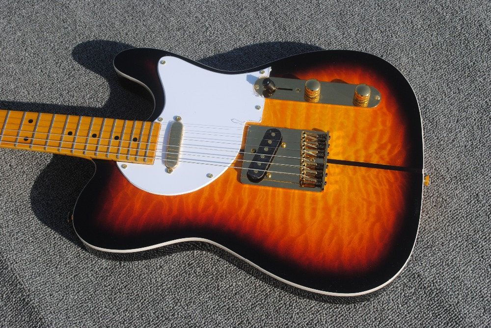 Factory custom Guitar Merle Haggard Signature Tuff Dog Sunburst Electric Guitar with flame maple top tl guitar