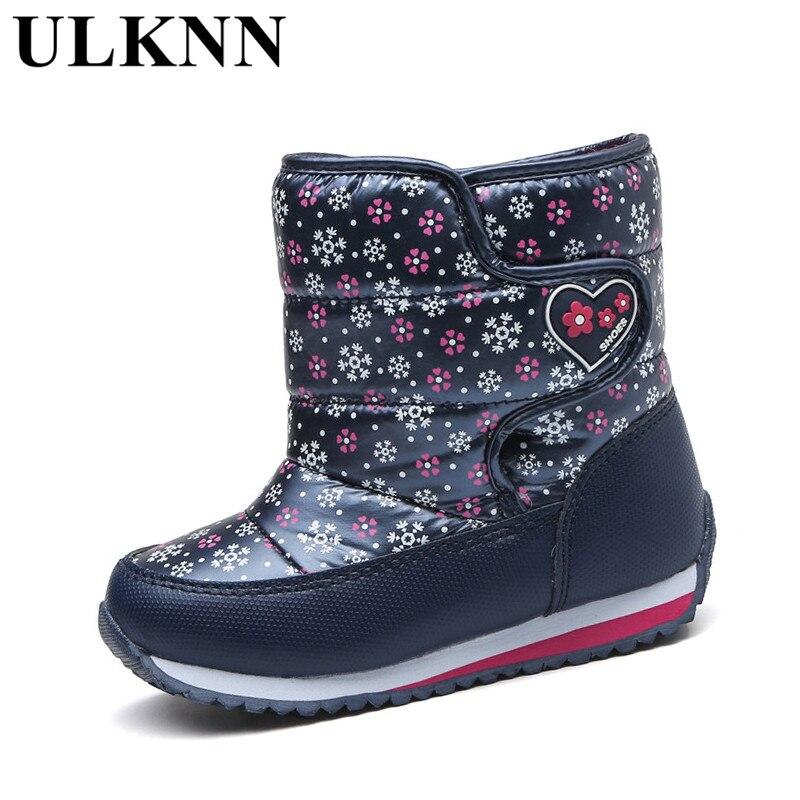 ULKNN Girls Winter Boots Snow Shoes For Kids Waterproof Plush Flat Platform Round Toe Winter Children Shoe Girls Boots White Red