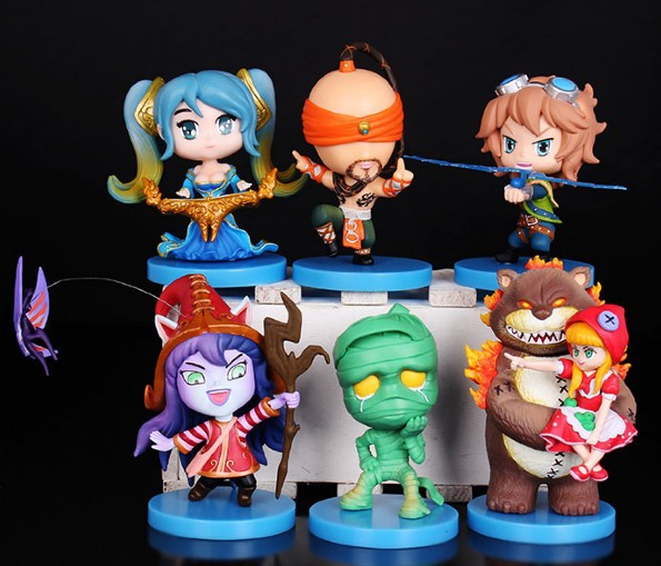 ФОТО Free shipping 6pcs Q version Annie Ezreal Amumu pvc game figure toy tall 8cm set.6pcs/set newest game doll supply