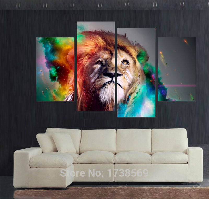 Free shipping Modern Home Decoration wall art picture for living room colorful lion king canvas Print oil painting canvas  F/060