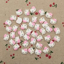50Pieces Flatback Flat Back Resin Kawaii Cabochon DIY Animal Cat Cartoon Resin Craft Decoration For Hair Bow Embellishment:16mm(China)