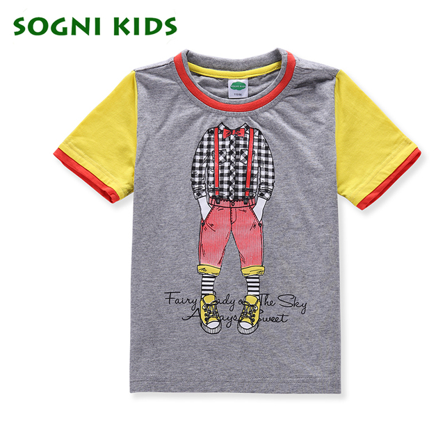 SOGNI KIDS 2017 Summer New Cartoon Kids 100% Cotton T-shirts Short sleeve For Children Boys Clothing meninos roupas Costume