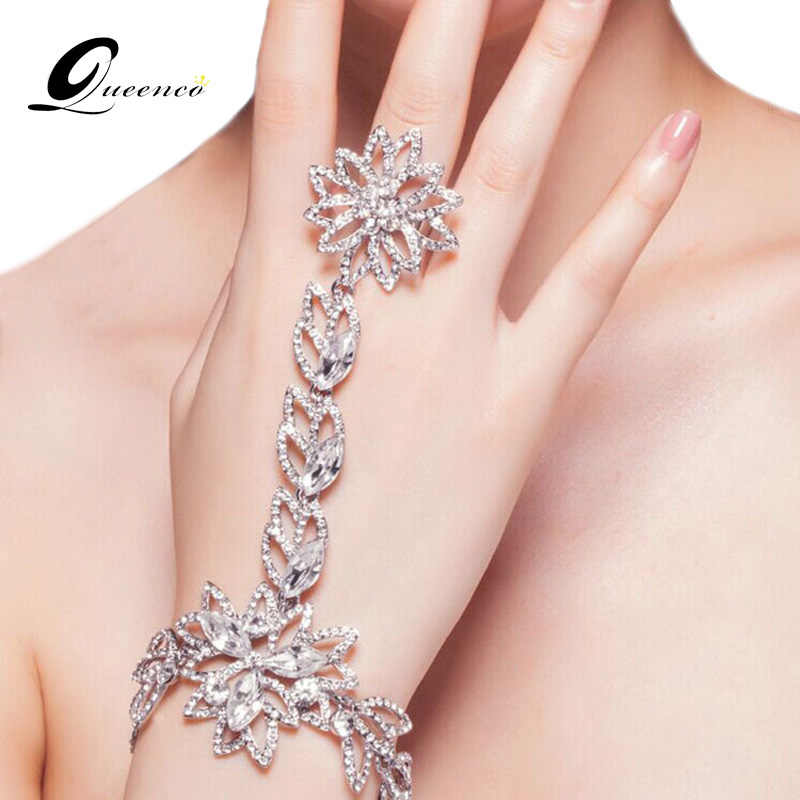 Fahion Bridal Bracelet Rhinestone Hand Chain Charm Bracelets for Women Wedding Dress Accessories Prom Jewelry Gift For Girls