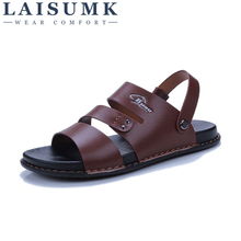 2019 LAISUMK Fashion Brand Sandals Men Genuine Leather Summer Shoes High Quality Beach Footwear Mens