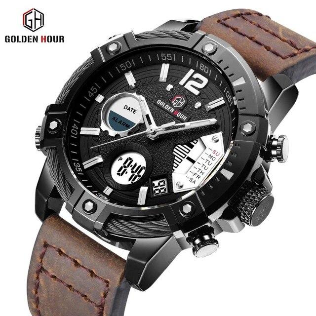 Золотые часы Военная Кварцевые Dual Time Для мужчин часы будильник Многофункциональный Человек модные спортивные человек Crazy Horse ремешок наручные часы 2019