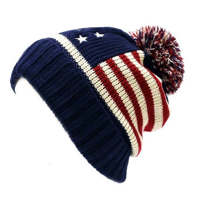 Winter Vintage Stars Stripe Knit USA Flag Beanie Skull Ski Pom Pom Hat Cap b5674fecbf5f