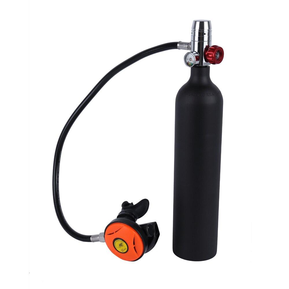 1L Scuba Oxygen Cylinder Diving Air Tanks Scuba Regulator Diving Respirator Gauge Snorkeling Breathing Equipment Water Spotrs