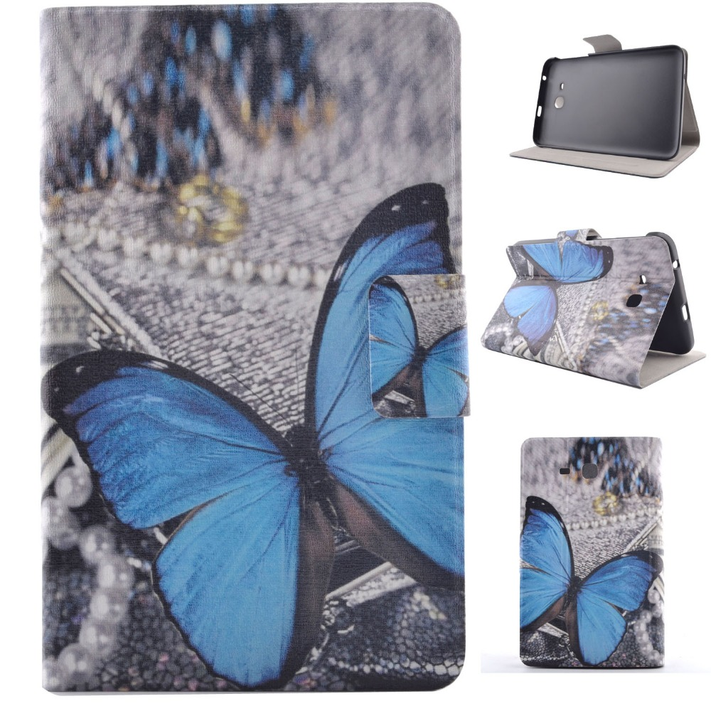Ultra Slim Print Stand Case Card Holder Protective Business Book Cover For Samsung Galaxy Tab 3 Lite 7.0 T110 T111 T113 T116