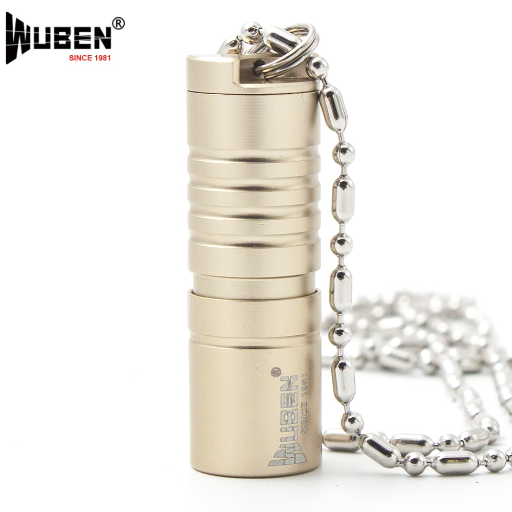 LED Flashlight Bright 130LM Torch LED Lamp with Necklace Portable Design Multipurpose Keychain Mini Light + Battery WUBEN G342 aisi® portable bright led compass flashlight torch adjustable zoom light lamp