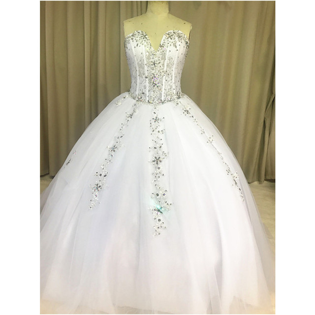 Luxury Ball Gown Wedding Sweetheart Diamonds Liques Lace Tulle Floor Length Sparkly Bridal Gowns Custom