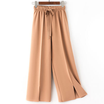 Summer Loose Solid High Elastic Waist Chiffon   Wide     Leg     Pants   Casual Palazzo Culottes   Pants   Elegant Trousers For Women Drawstring