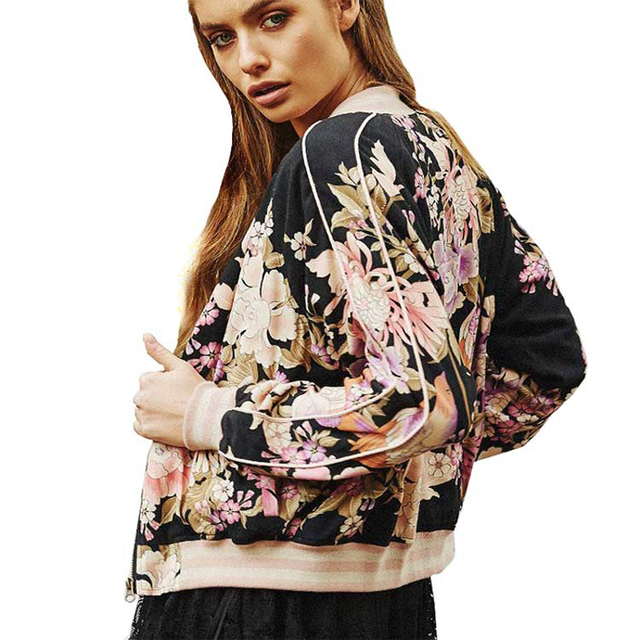 Favorite BOHO short Bomber Jacket 2017 winter autumn cotton & rayon Floral  NA01
