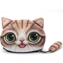 1Pcs Cute Small Tail Cat Coin Purse Cartoon Pocket Wallet Bag Pouch Children Holder For Kids Gift Free Shipping