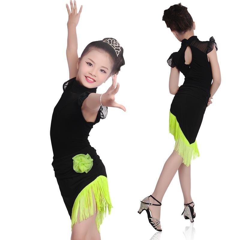 Girls High Neck Slim Skirt Suit Child Kid Performance Competition Samba Tango Latin Fringe Dress