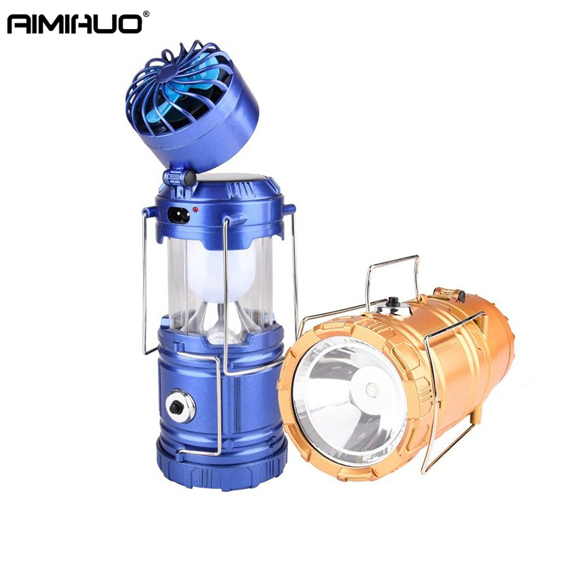 AIMIHUO Solar LED Lantern Stretch Outdoor Camping Lamp Fan Lantern Solar LED Lamp Lanterna USB Rechargeable Tent Camping Light