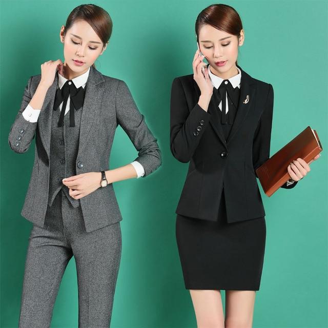 d40261fb623d € 61.31 |Nuevo Diseño Uniforme Profesional de Negocios Formal Trajes de  Trabajo Con 3 piezas Chaqueta + Pantalones + Chaleco Para Damas Oficina ...