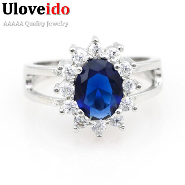 Blue Crystal Wedding Rings for Women Vintage Jewelry Engagement Women's Ring Female Alibaba-express Anel Feminino Uloveido Y050