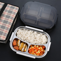 304 Stainless Steel Lunch Box for Kids Portable Leakproof Bento Box School Food Container With Bag Tableware Set for Picnic