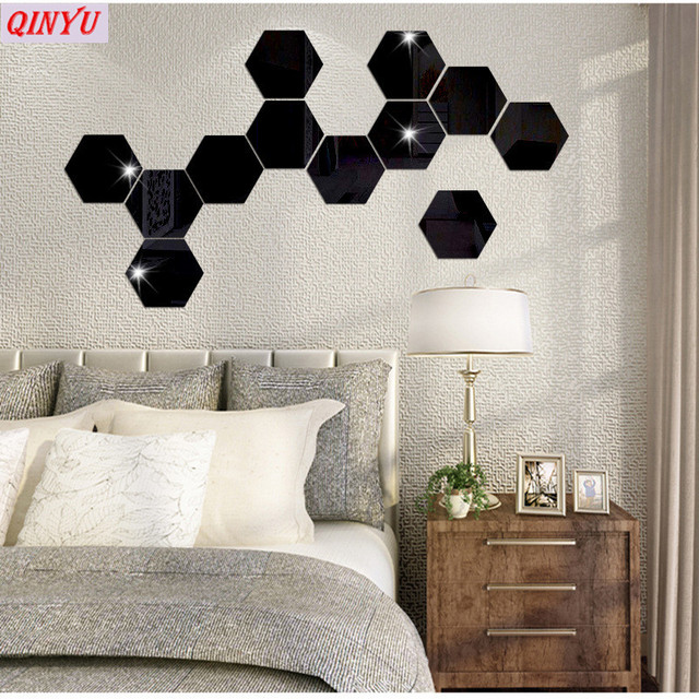 12pcs Acrylic 10cm Hexagon Mirror Wall Stickers 5 Colors 3d Home