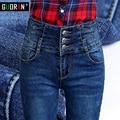 Invierno de la cachemira Caliente Estiramiento de Cintura Alta Pantalones Vaqueros Mujer Vaqueros Flacos Negros Pantalones Vaqueros Jeans Mujer Pantalones de Terciopelo pantalones vaqueros femeninos de Invierno de Gran Tamaño