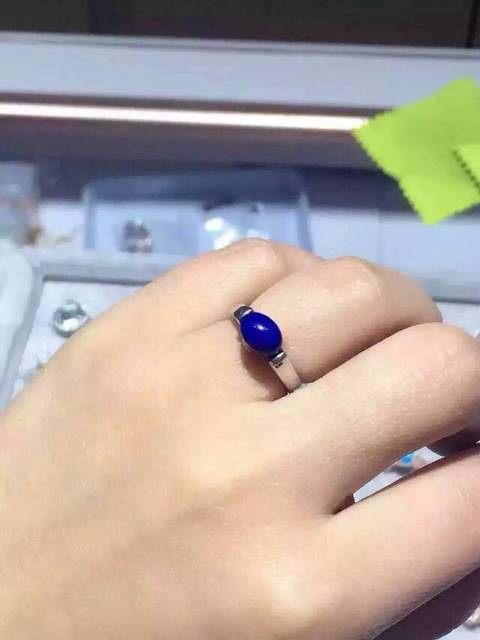 Natural blue lapis lazuli gem Ring Natural gemstone Ring S925 sterling silver trendy simple round Calipers women party Jewelry