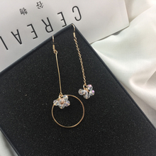 Crystal series asymmetric initial design irregular long earrings ear clip deserve to act the role of women adorn article