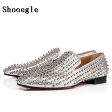 b2bb92f0fc85 SHOOEGLE Men Silver Studded Spikes Moccasins Shoes Mens Smocks Slipper  Casual Shoes Party Dress Apartments Loafers Shoes EU38-46