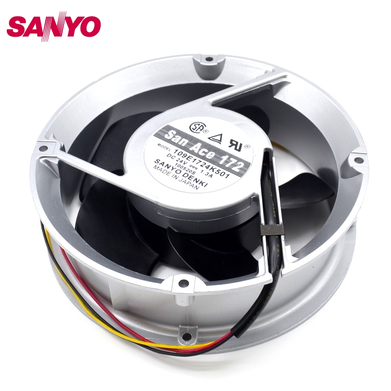SANYO New DC cooling fan inverter DC24V 1.3A 17CM fan 109E1724K501 172 * 172 * 50mm tg17055ha2bl ac 220v 0 3a 46w 50 60hz 3100rpm double ball bearing 17255 17cm 172 150 55mm 2 wires silent cooling fan