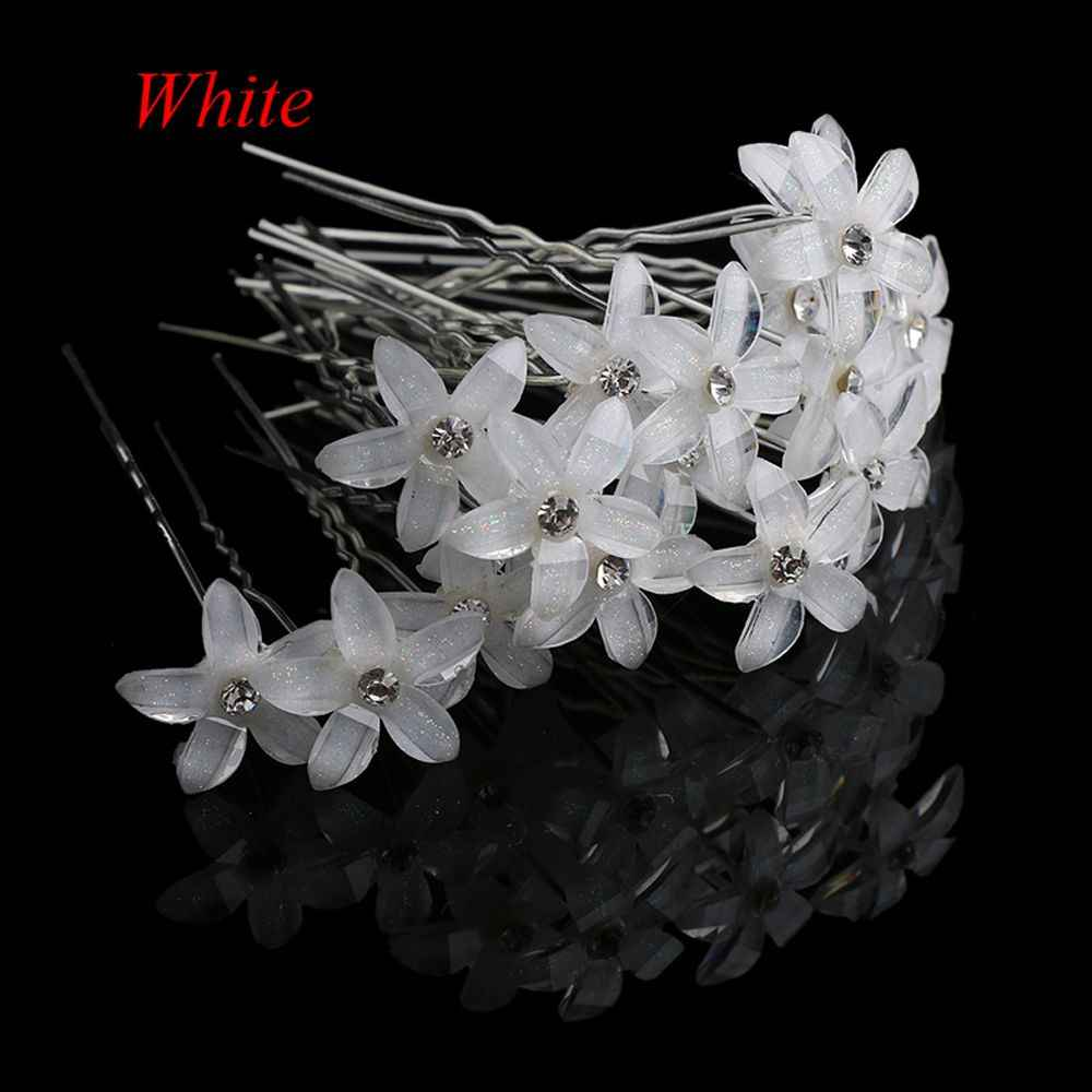 Wholesale 2/20pcs/lot Flower Crystal Rhinestone UShaped Hairpin HairClip Women Wedding Bridal Headdress Jewelry Hair Accessories