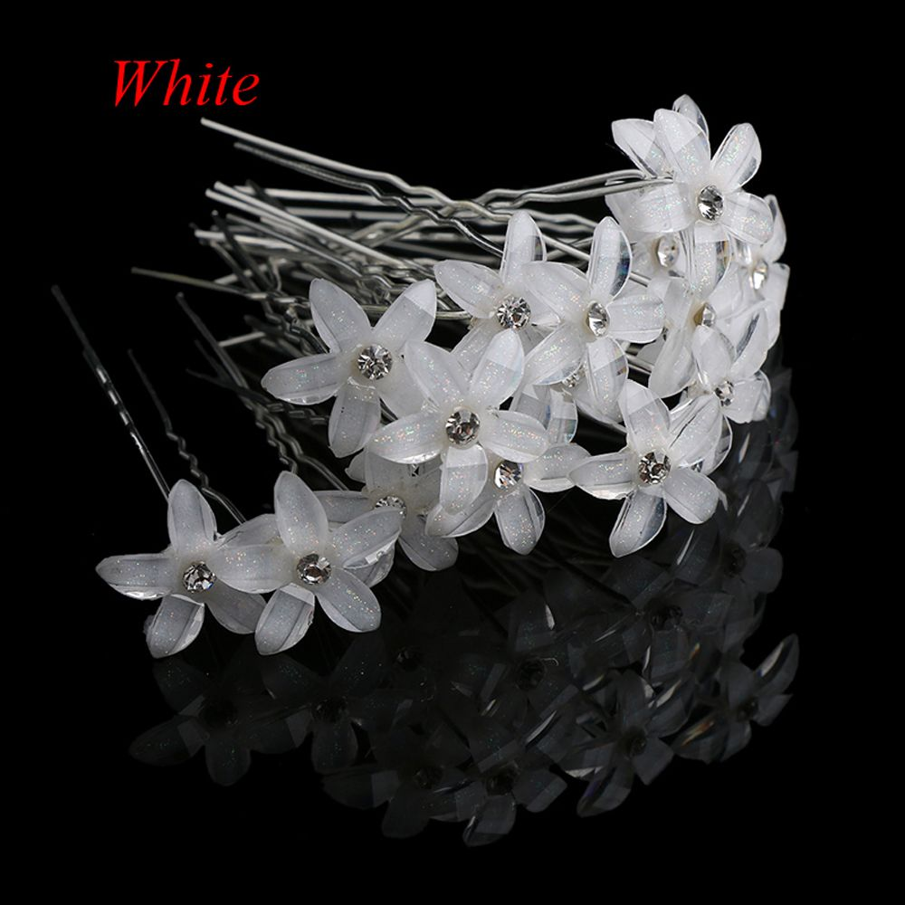 2/20pcs/lot Flower Crystal Rhinestone UShaped Hairpin HairClip Women Wedding Bridal Headdress Jewelry Hair Accessories Wholesale