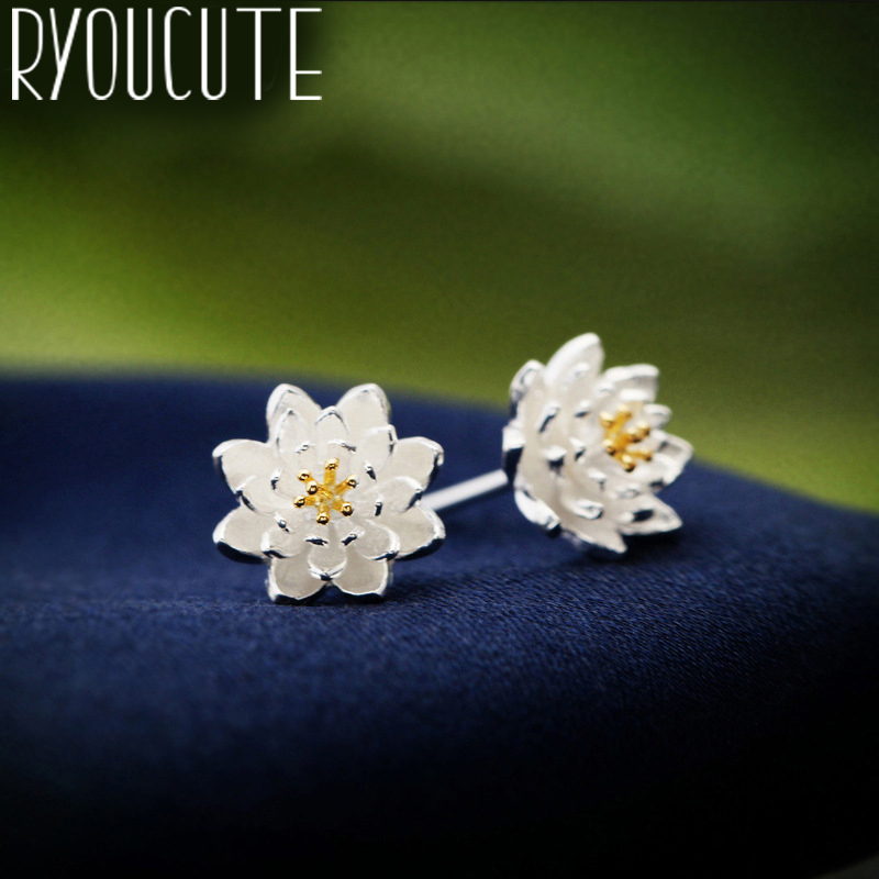 RYOUCUTE 100% Real Silver Color  Jewelry Big Lotus Flower Earrings For Women Bijoux Statement Earring Brincos Pendientes
