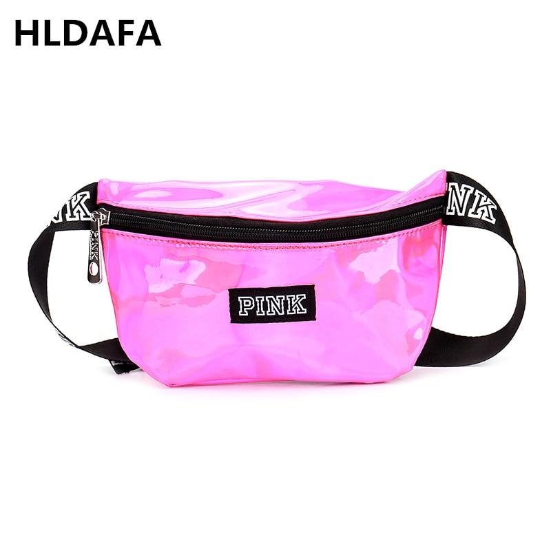 2018 Fashion Laser PU Leather Waist Bag Women Fanny Packs Letter Pink Waist Packs Belt Bag Female Chest Messenger Bag Drop ship